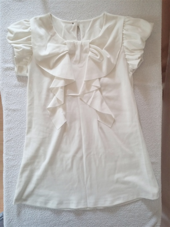 Tunika elegancka bluzka bufki falbany ecru 38 40