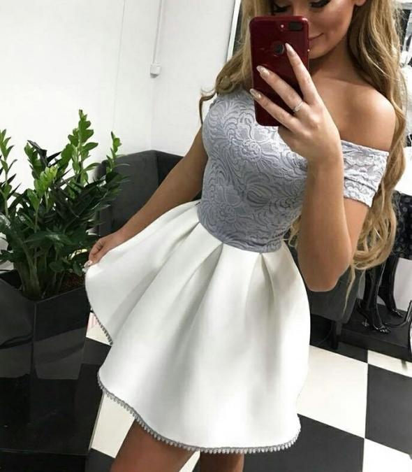 Biało szara sukienka