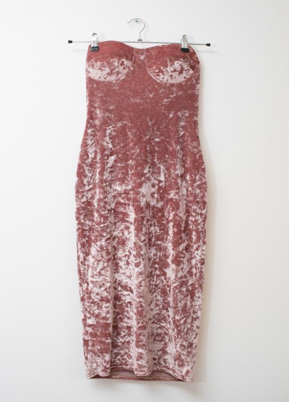 Sukienka welurowa midi tuba pudrowy róż sexi dopasowana M L...