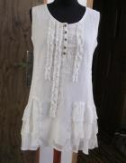 zwiewna sukienka STREET ONE 36 szyfonowa śmietankowa...