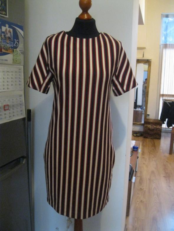 Prosta sukienka MANGO S z kieszonkami paski...