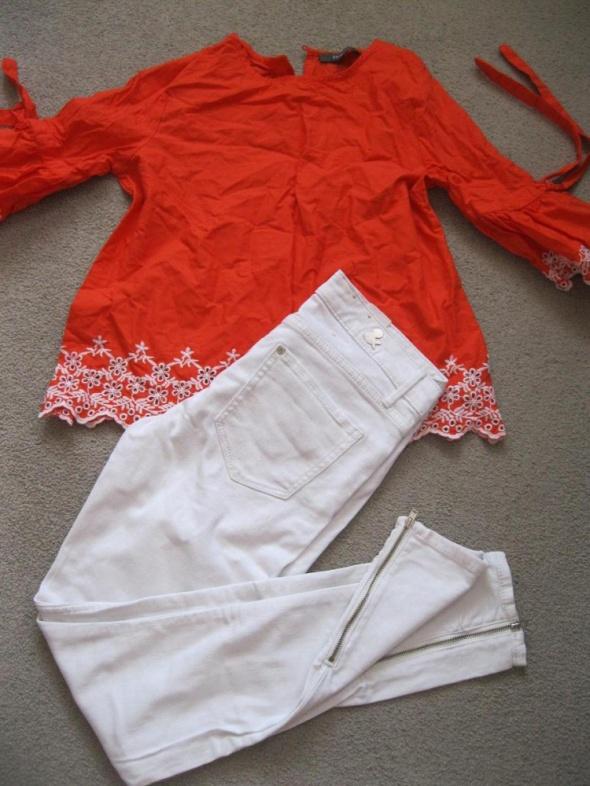 zestaw bluzka S i spodnie rurki H&M białe 27