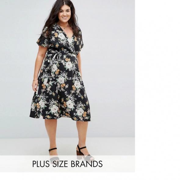 Sukienka ASOS czarna w kwiaty rozkloszowana 50 5XL midi elegancka retro