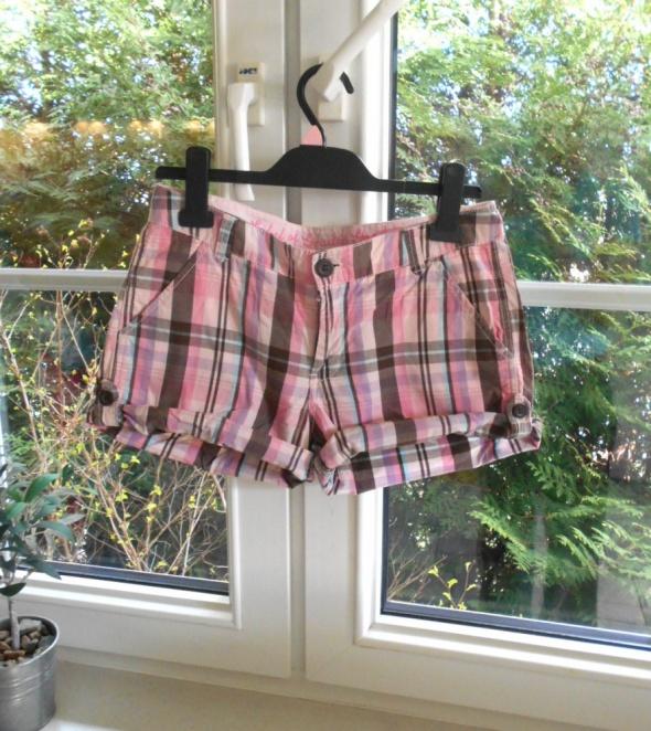 HM szorty spodenki w kratkę różowe pink bawelniane...