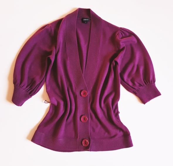 LINDEX Sweterek rozpinany Fuksja Rozm S 36