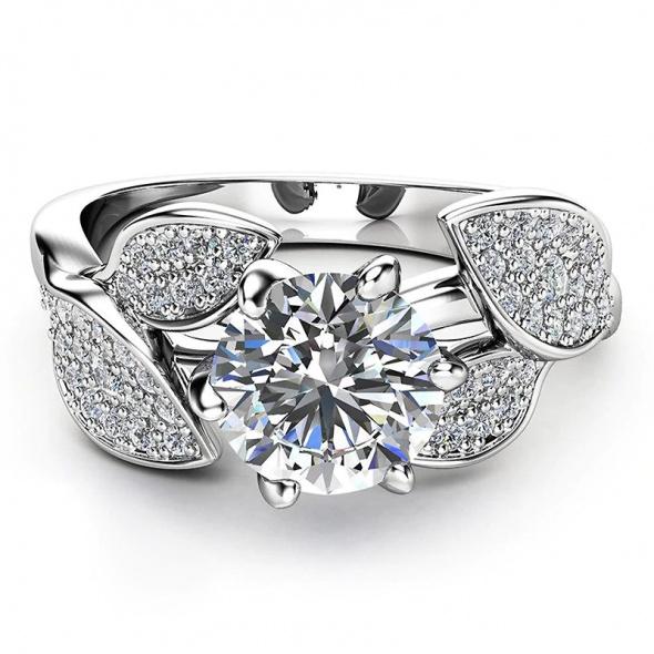 Nowy pierścionek srebrny posrebrzany cyrkonie kwiat