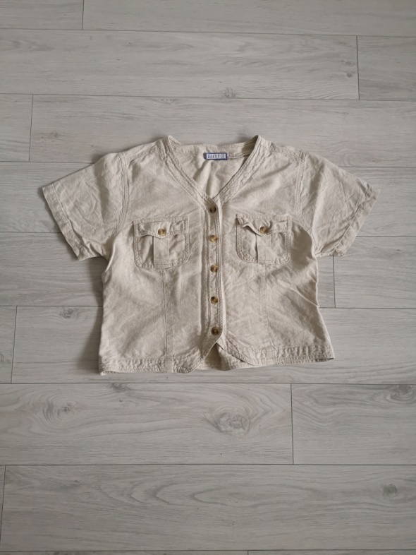 Bluzki Bluzka zapinana M L safari wiązanie nude