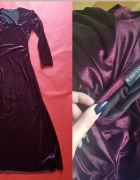 Włoska oryginalna suknia wieczorowa w kolorze burgundu maxi...