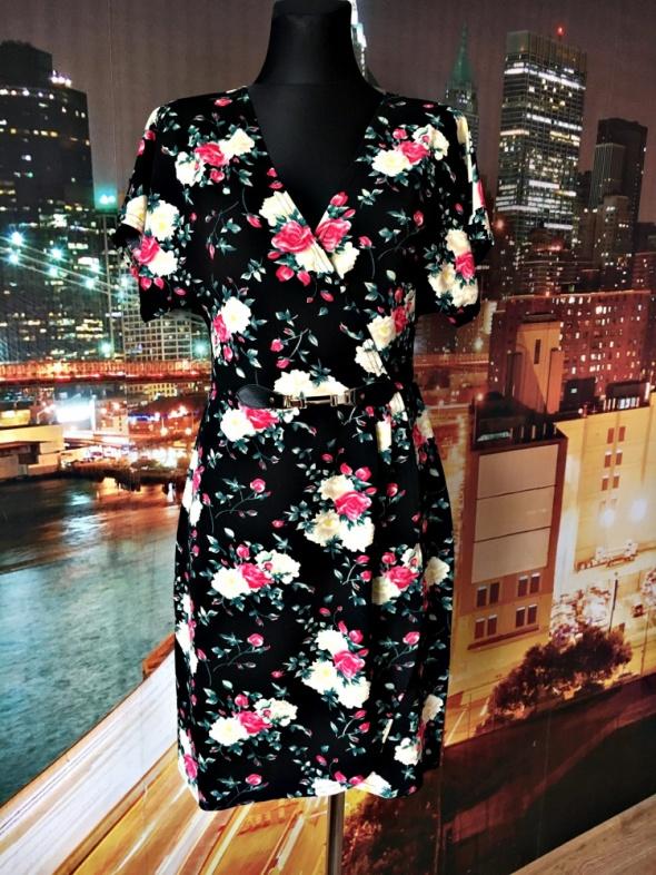 blue vanilla sukienka modny wzór kwiaty floral nowa 40 L