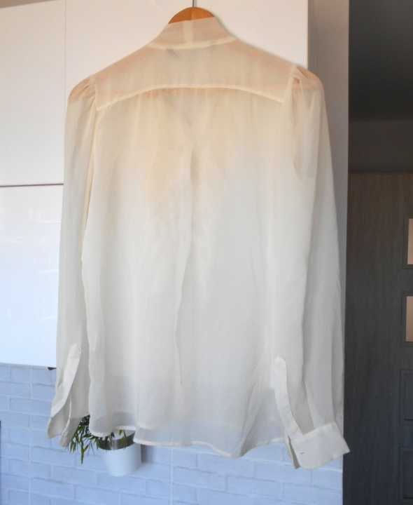 Zara koszula mgiełka kokarda żabot nude kremowa w Koszule