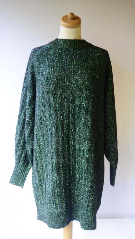 Sweter Zielony Metaliczny H&M S 36 NOWY Dłuższy Tunika