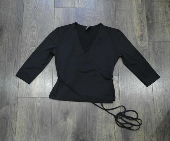 Bluzka czarna koperta wiązana w talii 38 40