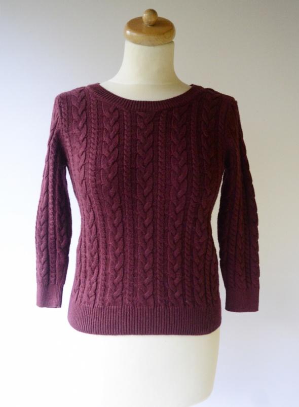 Sweter H&M Basic Warkocze Wełna S 36 Bordowy Alpaka Burgundowy