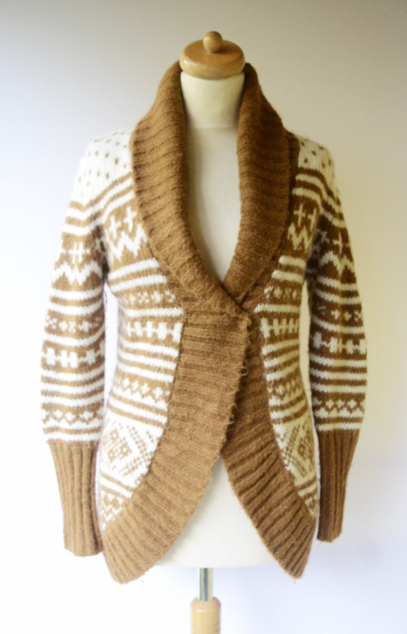 Sweter Brązowy Wełna Vero Moda M 38 Wzorki Wełniany