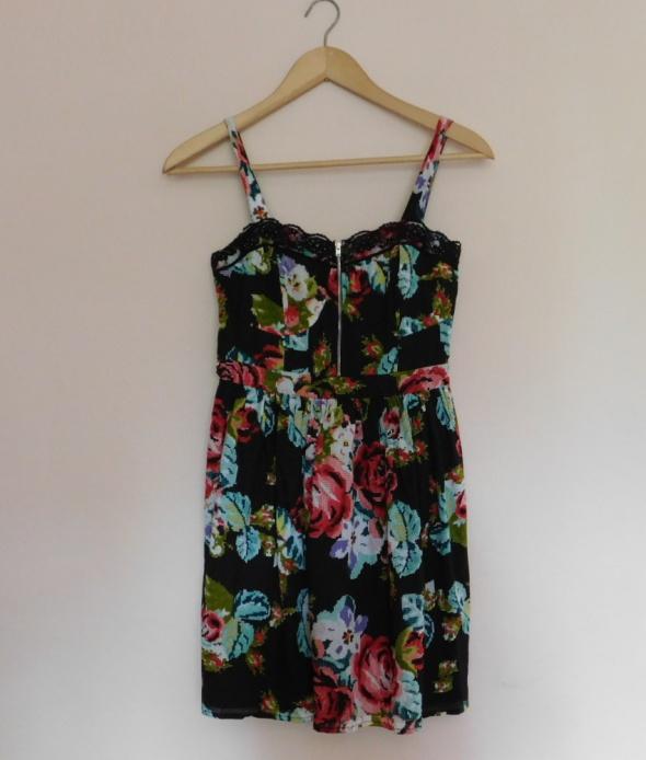 Be Beau sukienka midi czarna kwiaty 38 40