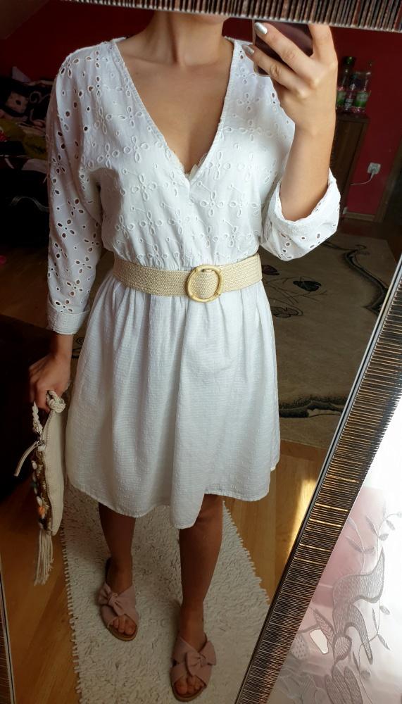 Sukienka z haftem Zara biała rozmiar XS