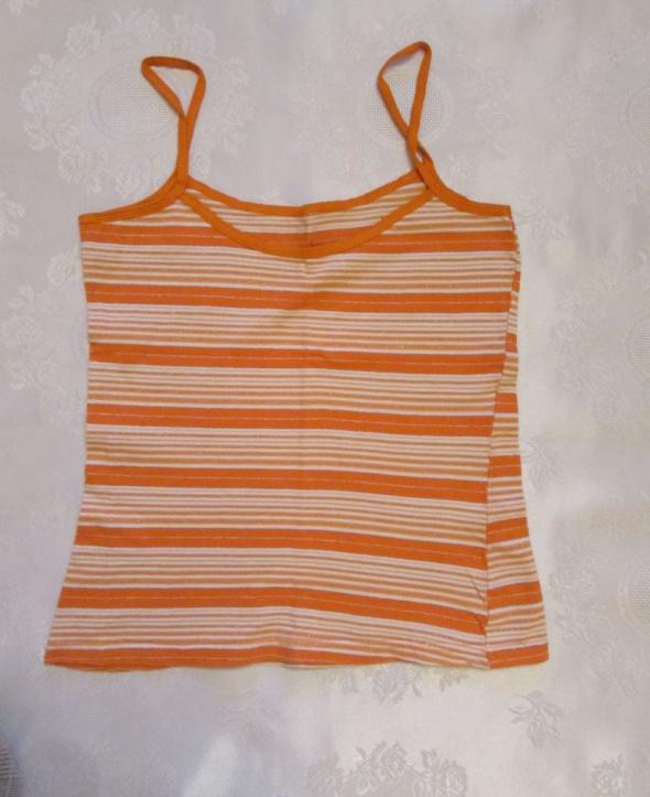 Bluzka na ramiączkach w paski pomarańczowa XS