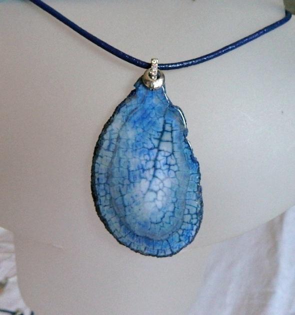 Szaro niebieski agat pajęczy duży plaster