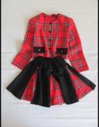 Elegancki komplet dla dziewczynki 140 szkocka kratka...