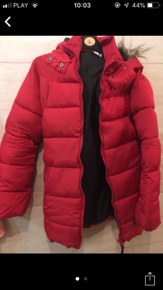 czerowna kurtka zimowa 36 S gruba ciepła