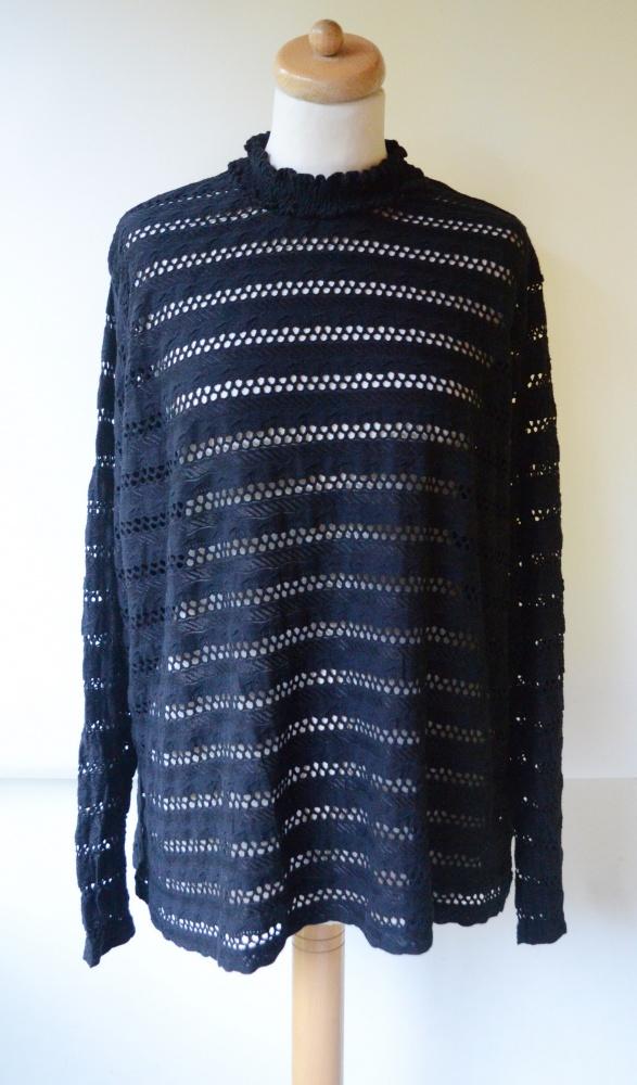 Bluzka H&M Ażurowa XXXL 46 Czarna Oversize
