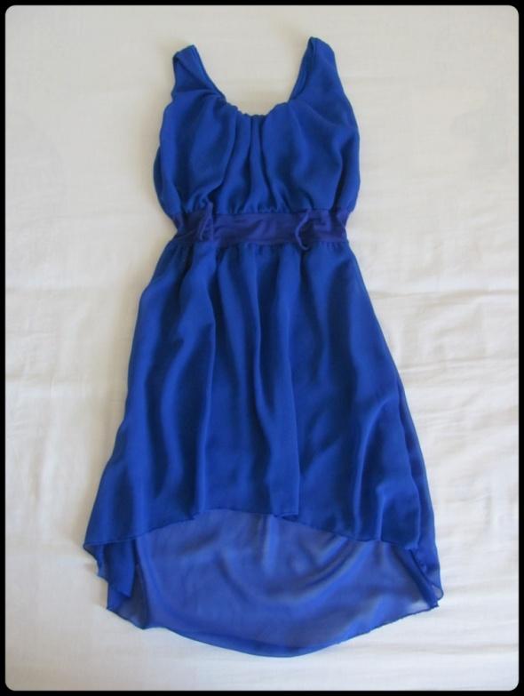 Piękna kobaltowa sukienka 38 M dłuższy tył