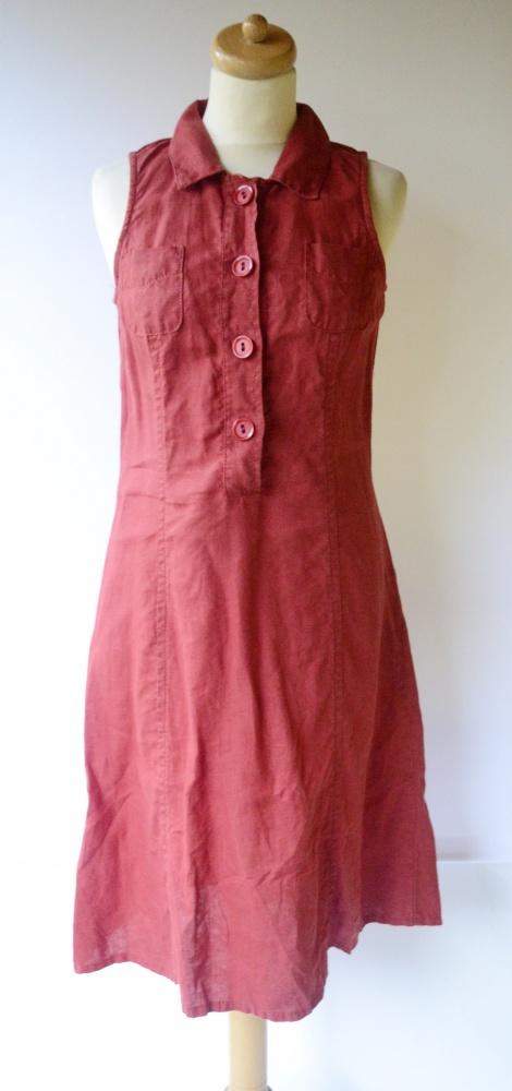 Sukienka Czerwona Benetton Lniana Len M 38 Elegancka Czewień