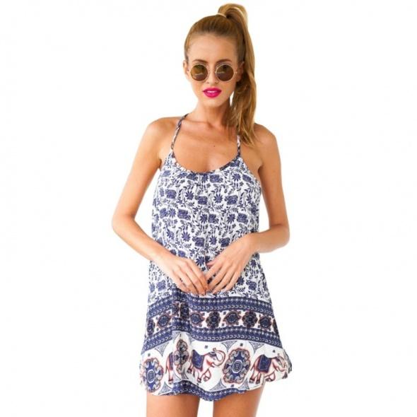 NOWA Sukienka letnia lato mini boho ramiączka