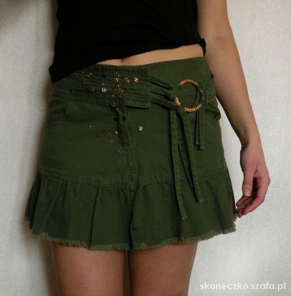 TANIO Zielona khaki dżinsowa mini