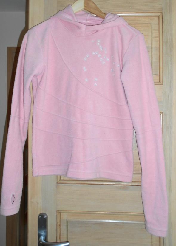 Bluzy Troll różowa bluza pudrowa polarowa z kapturem