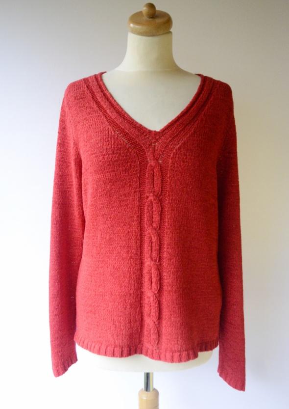 Sweter Oversize Czerwony Cubus M 38 Warkocz Warkocze...