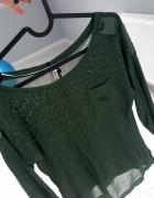 Bluzeczka w panterkę siateczka z kieszonką zieleń...