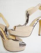 Karen beżowe szpilki sandały na platformie 36...