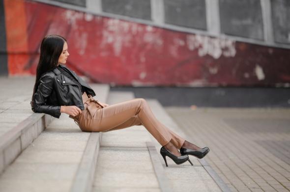 Legginsy Genialne legginsy karmelowe wysoki stan