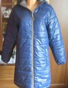 Granatowy płaszcz wiosna jesień Malexxius kaptur L...