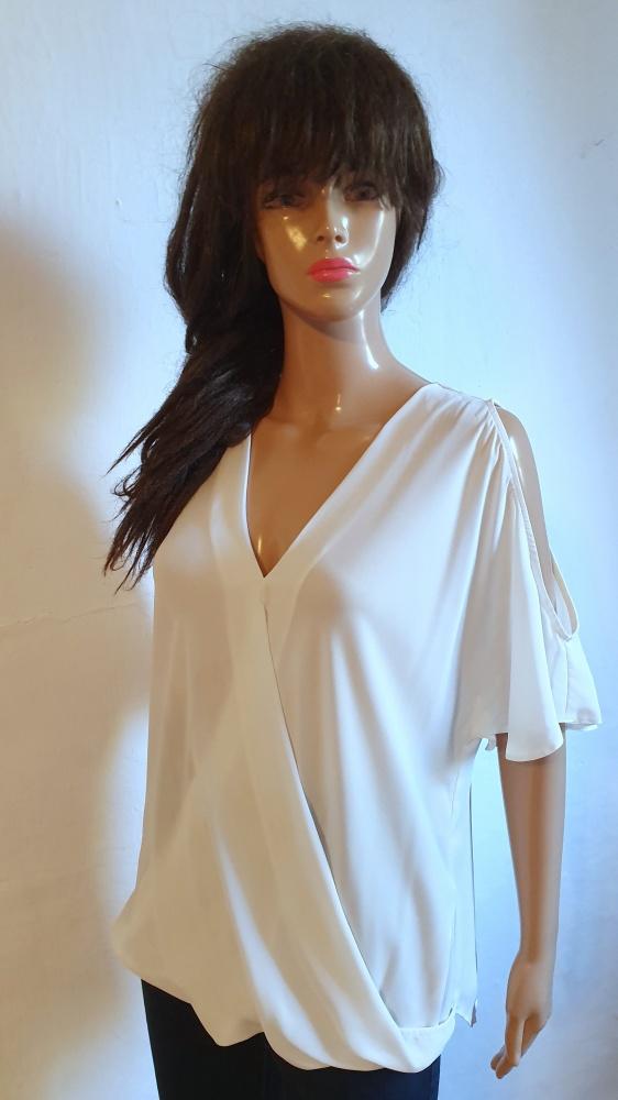 Biała lejąca bluzka krótki rękawek r M...