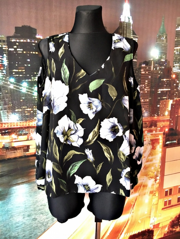 george bluzka kwiaty floral wycięcia na ramionach jak nowa 38...