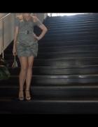 Sukienka na wesele bombka srebrna szara 38