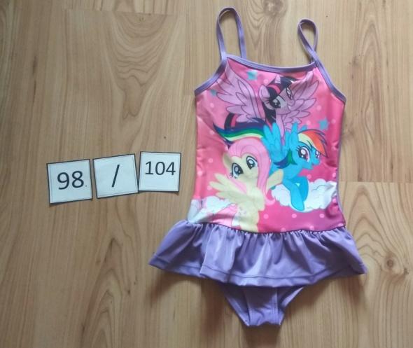 Nowy jednoczęściowy strój kąpielowy z falbanka 98 104 Kucyki Pony