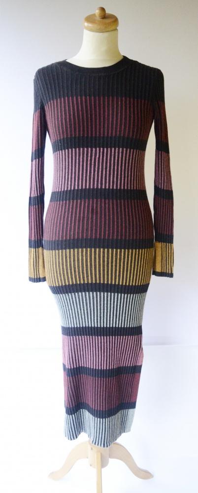 Sukienka H&M XS 34 Sweterkowa Long Rozporek Dzianina...