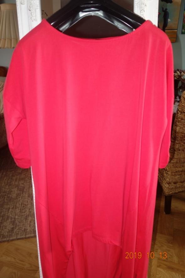 asymetryczna tunika w pięknym malinowym kolorze