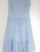 Nowa sukienka Bialcon Rabarbar 44 XXL niebieska bawełniana letn...