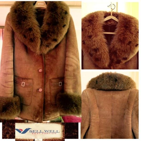 Zamszowa kurtka z naturalnym futrem