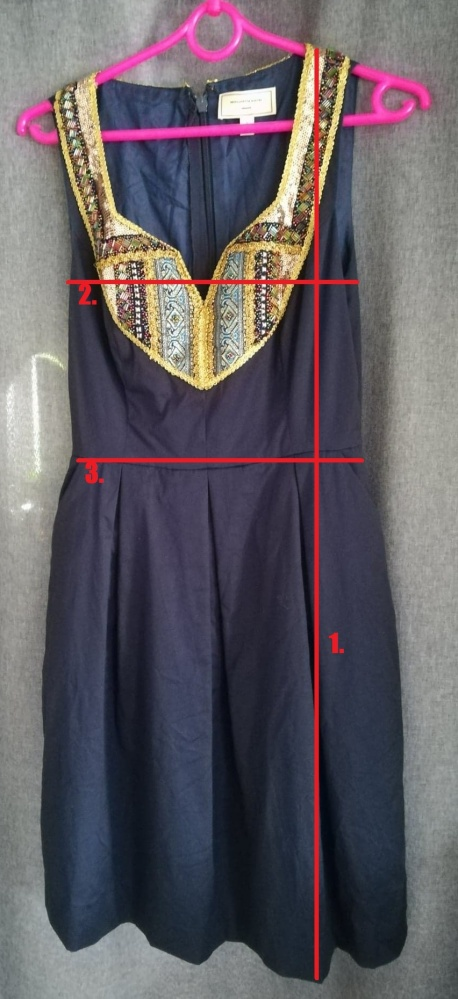Rozkloszowana elegancka granatowa sukienka 36 38 koraliki