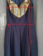 Rozkloszowana elegancka granatowa sukienka 36 38 koraliki...