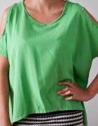 Zielona asymetryczna bluzka z ćwiekami S M