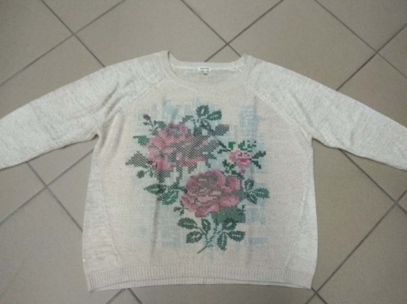 Beżowo kremowy sweter ze wzorem River Island 14 XL...