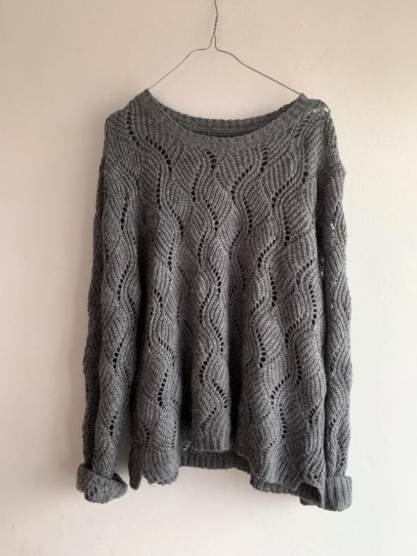 Swetry szary ażurowy sweter oversize atmosphere