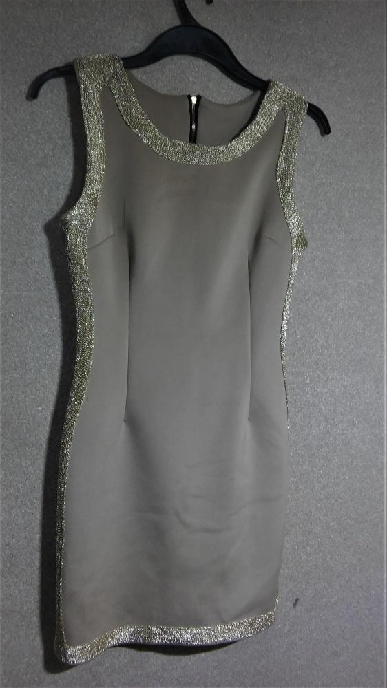 Beżowo złota ołówkowa sukienka midi 36 38