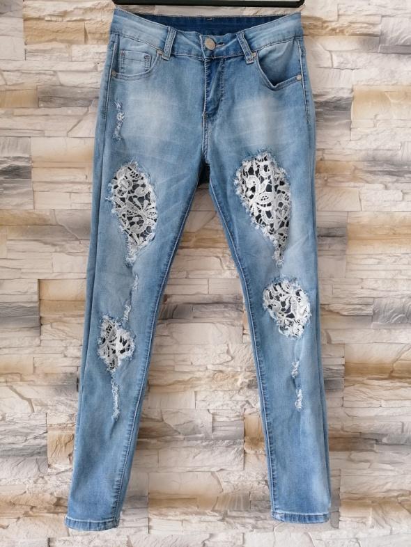 Spodnie Jeansy z koronką S